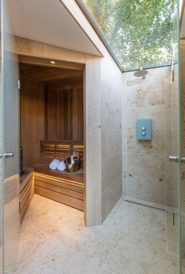 Bad Mit Sauna Planen Dusche Oberlicht Glas Baum Blick