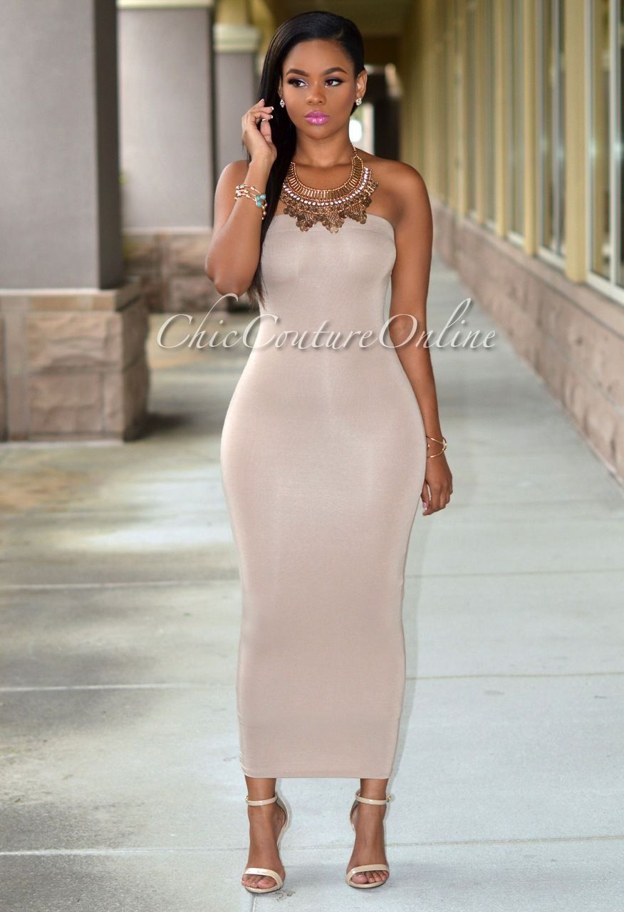 Mandi Mocha Strapless Maxi Dress