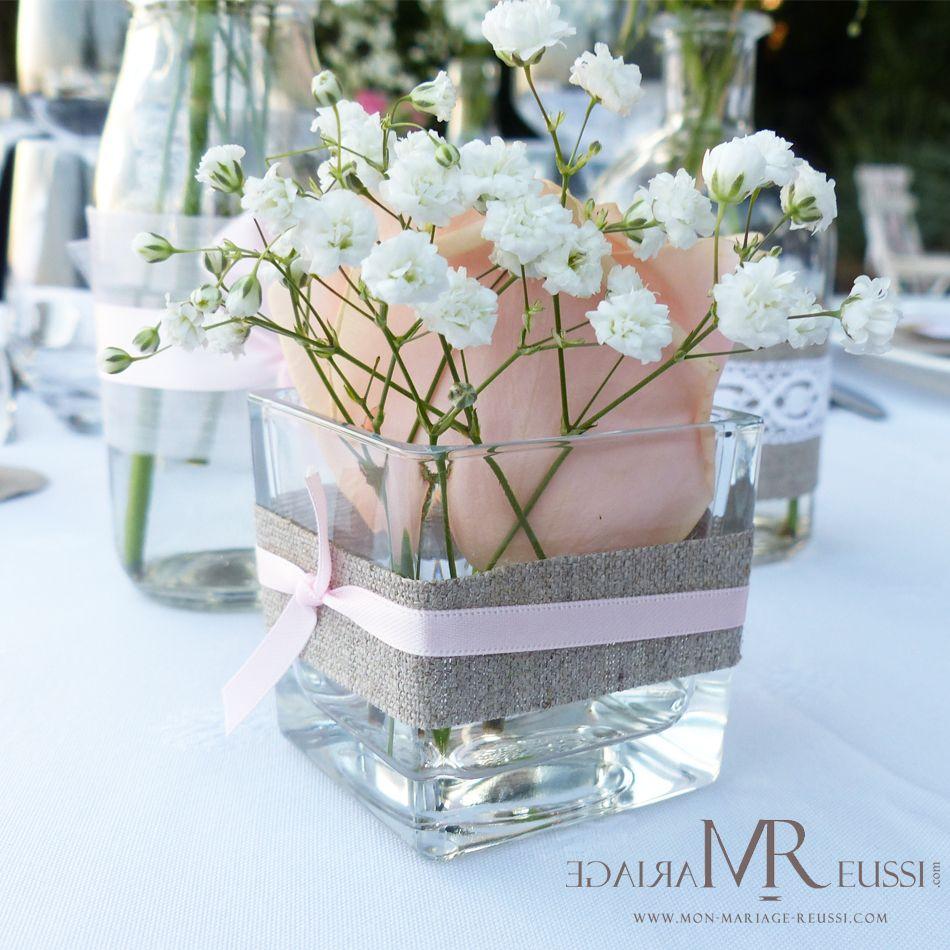Petit soliflore accessoiris de lin naturel ruban de satin fin rose gypsoph - Deco table mariage boheme ...