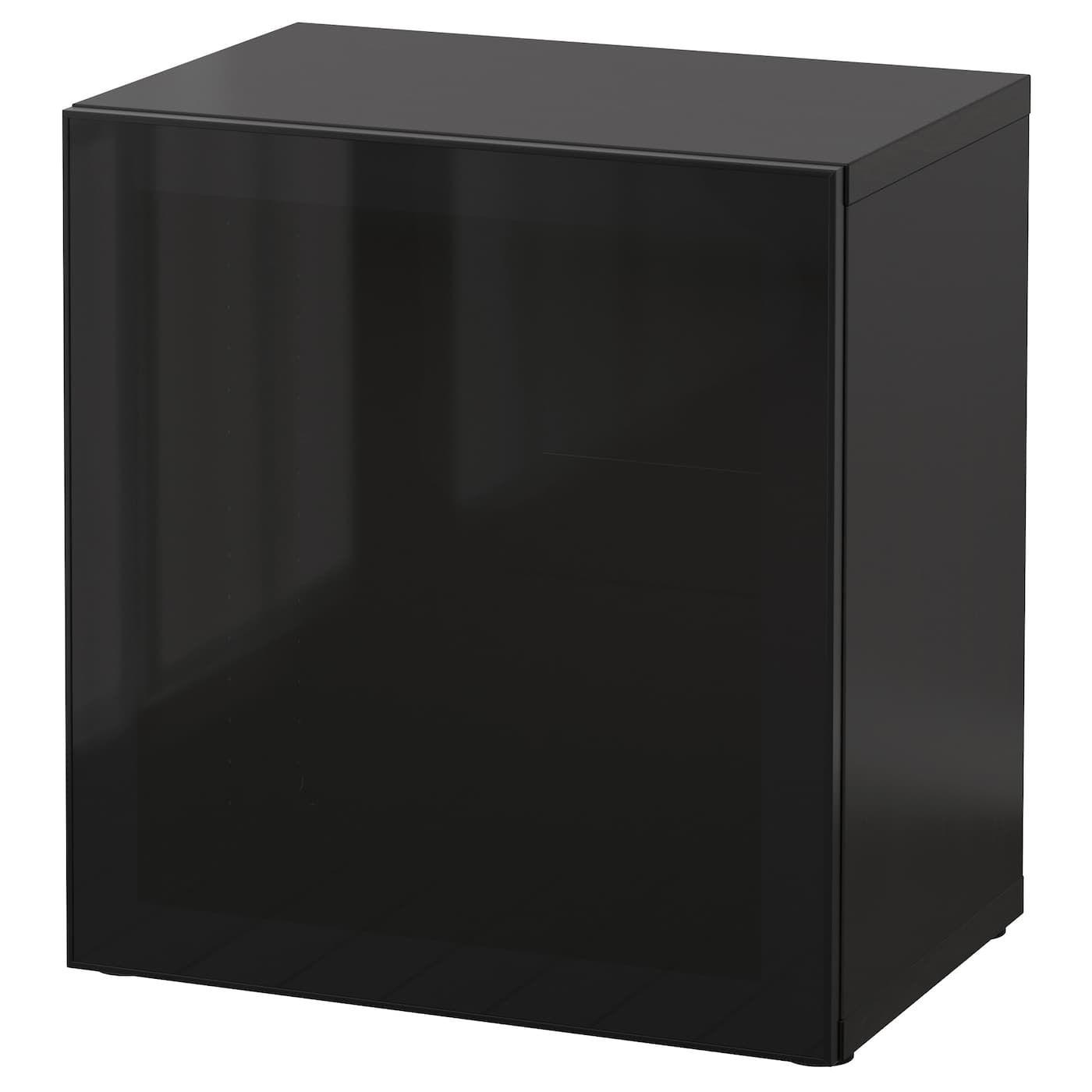 BESTÅ Regal mit Glastüren, schwarzbraun, Glassvik schwarz