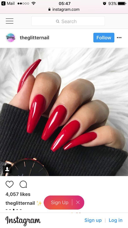 Rote Acrylnägel  #acrylnagel,