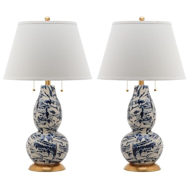 Navy and White Swirl Table Lamp | Table