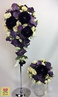 SILK FLOWER D/PURPLE ORCHID D/PURPLE/CREAM FLOWERS BRIDAL WEDDING BOUQUET SET