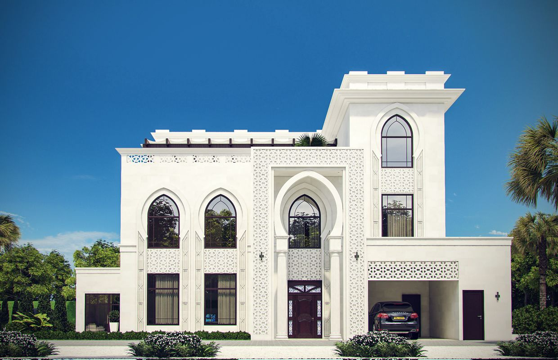 واجهات فيلا بطراز إسلامي مودرن تصميم خارجي المملكة العربية السعودية كومليت للعمارة Exterior Design Villa Design Modern Villa Design