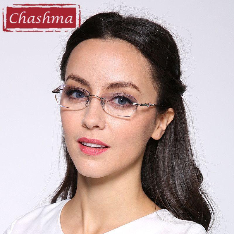 3e67ebe56ab4 Chashma Brand Ttianium Rimless Glasses Dimond Trimmed Tint Colored Lenses  Women Elegant Frameless Eyeglasses Female Review