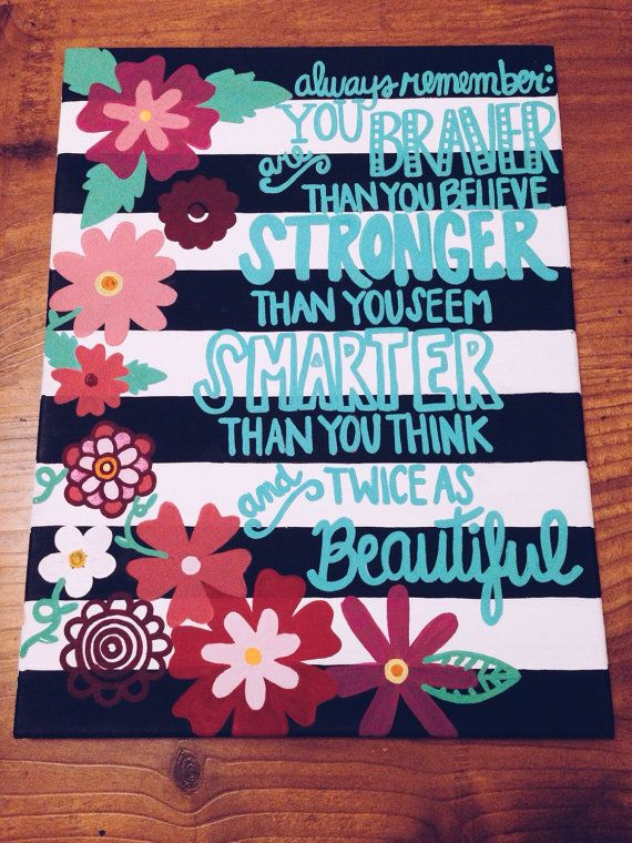 Inspirational Life Quote Flower Border Acrylic Canvas A Is For