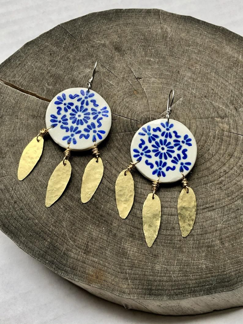 Mexican Pottery Earrings Blue Scroll Mexican Pottery And Etsy Polymer Clay Jewelry Diy Polymer Clay Jewelry Clay Jewelry Diy