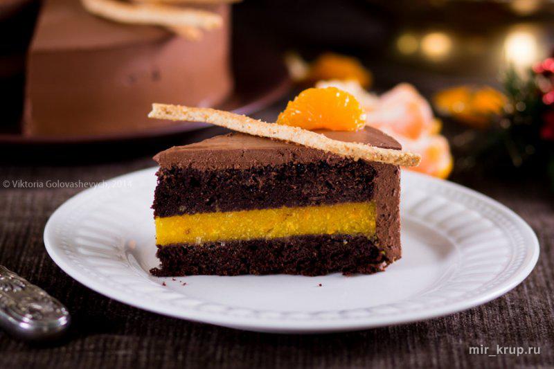 Торт Миндальная тарелка с суфле и мандаринами