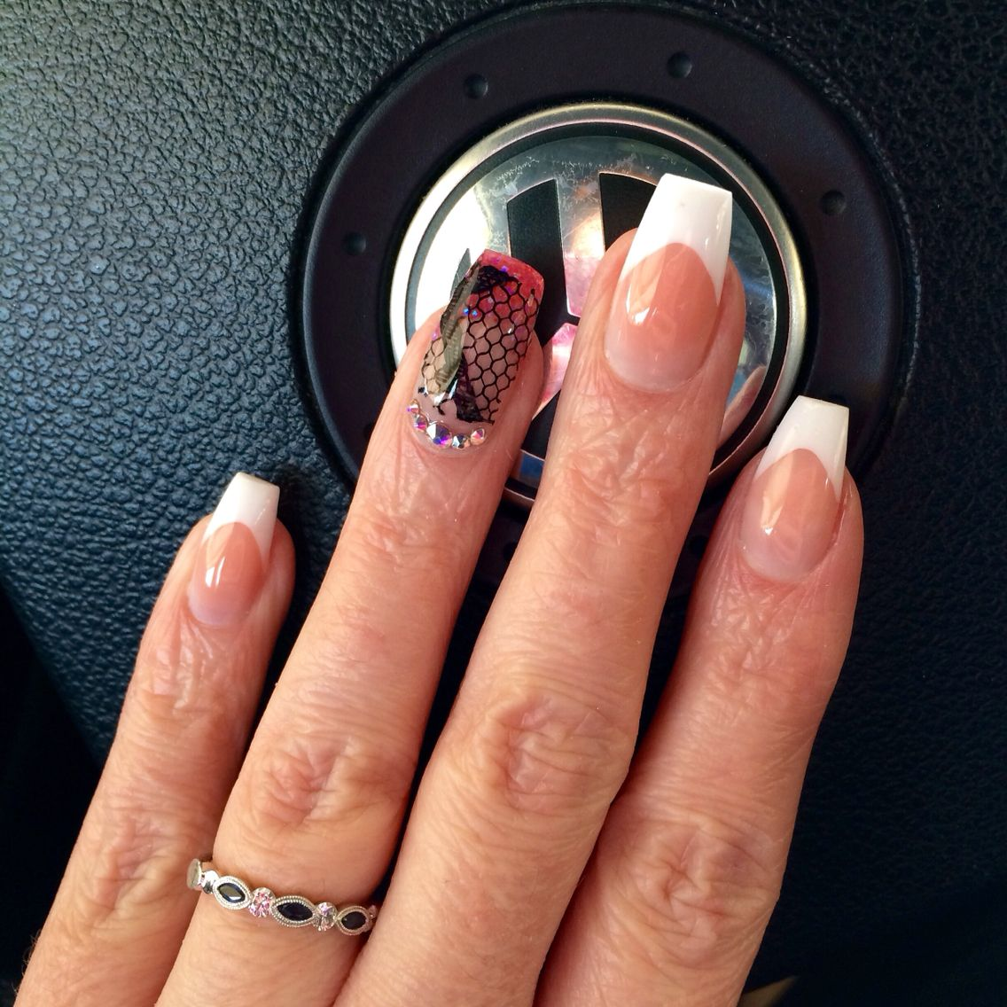 Lace and French coffin shape nails. | Nails | Pinterest | Neutral ...
