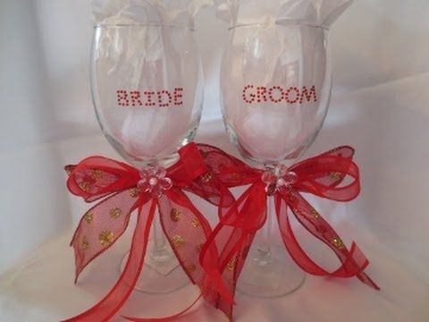 How To Tie Favor Ribbon Bows Around A Wine Glass Stem And