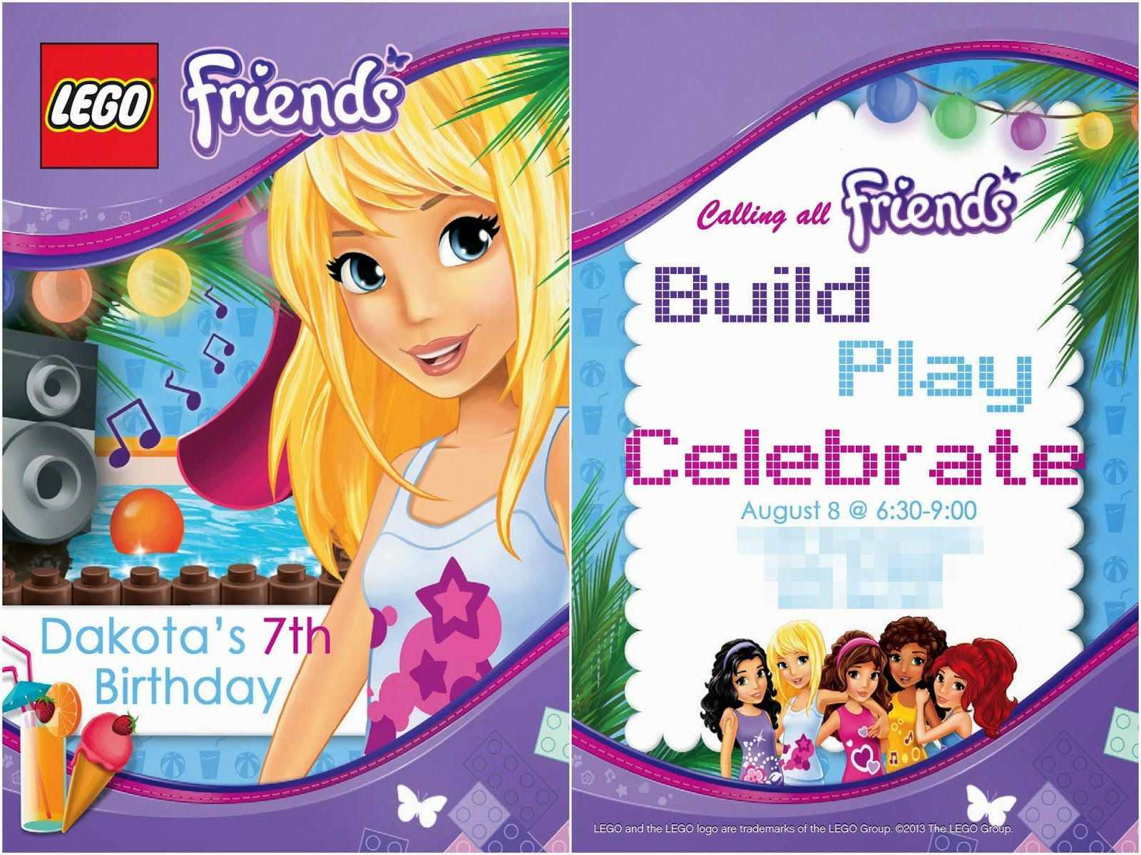 free lego friends birthday invite add