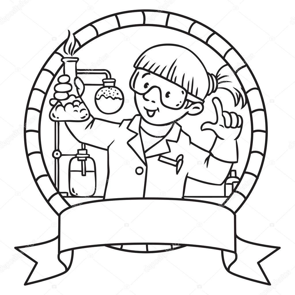 Komik Kimyager Boyama Kitabı Amblem Stok Vektör Meslekler