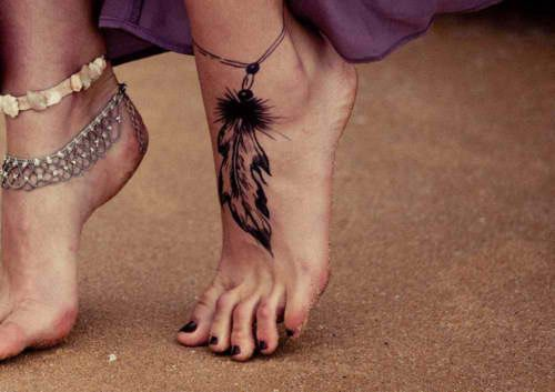 Gypsy spirit tattoos and henna body painting pinterest foot feather anklet tattoo would match a dream catcher tattoo if i got one urmus Images