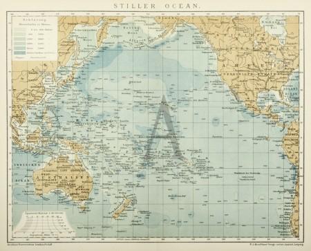 Stiller Ocean Antique Print Map Room Map Pacific Map Map Print