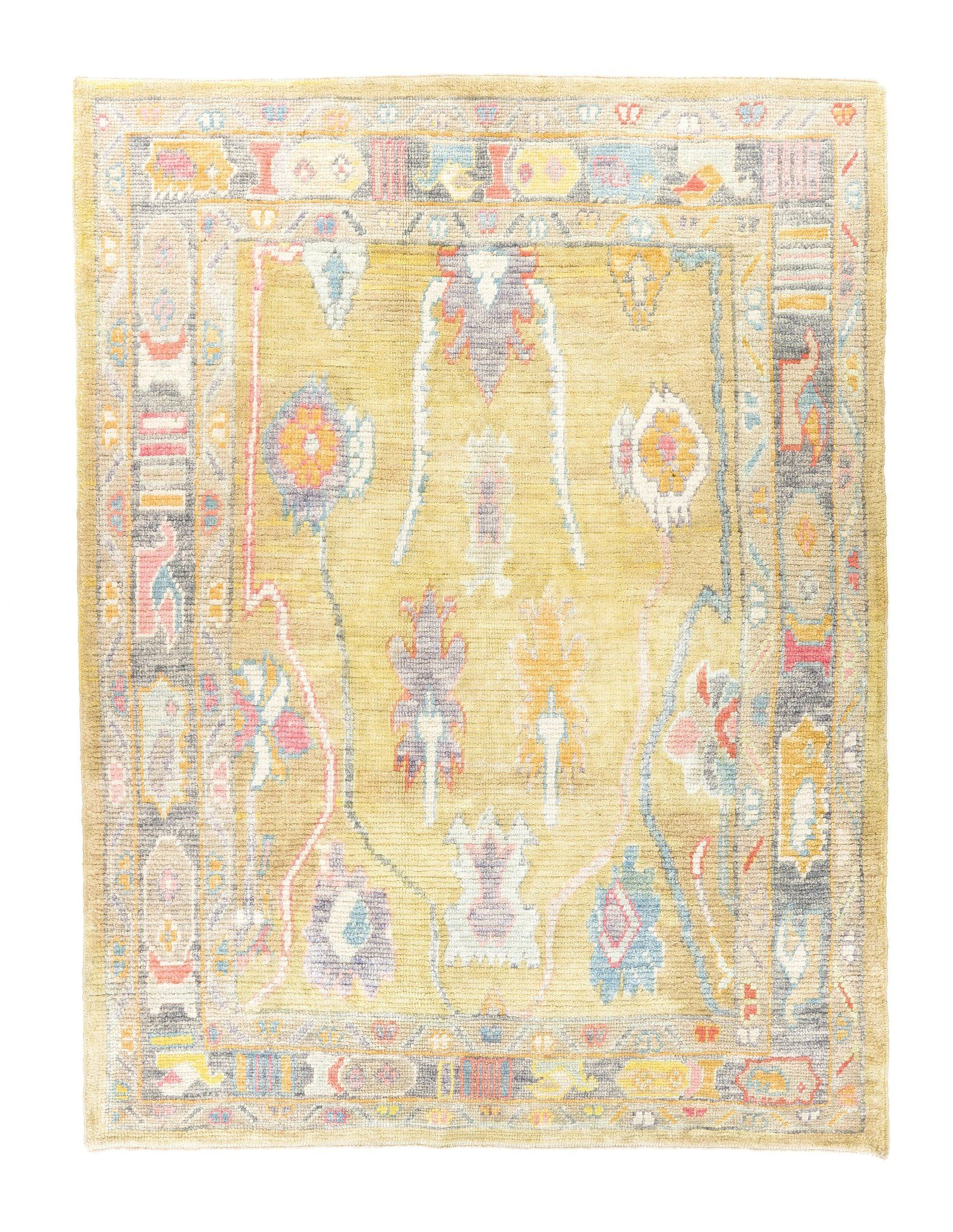 6x7 Orange Modern Oushak Area Rug With Images Rugs Area Rugs