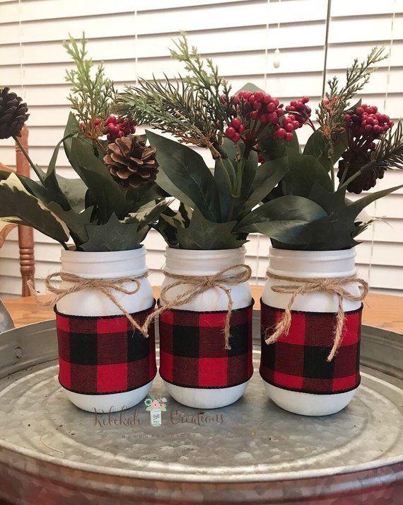 Buffalo Plaid Einmachgläser, Bauernhaus Einmachgläser, Buffalo Plaid Weihnachtsdekor, Bauernh... #christmasdecorideas