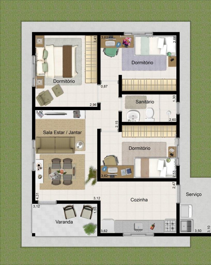 Plano De Vivienda Con Medidas En Metros En 2020 Planos De Casas Casa De 3 Dormitorios Modelo De Casas Pequenas
