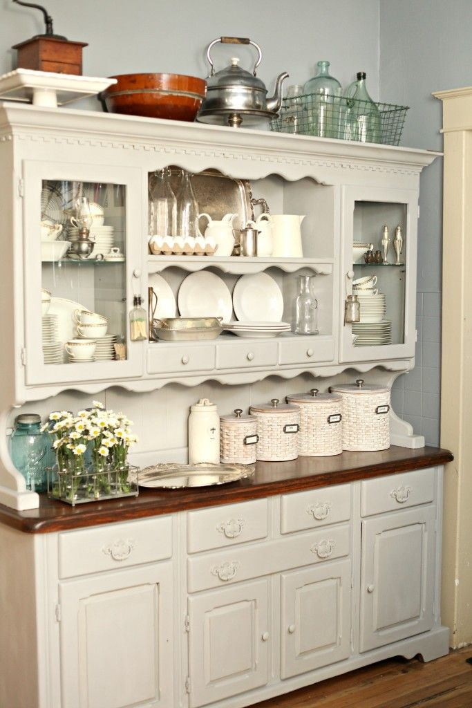 Paris Grey Chalk PaintR On Kitchen Hutch