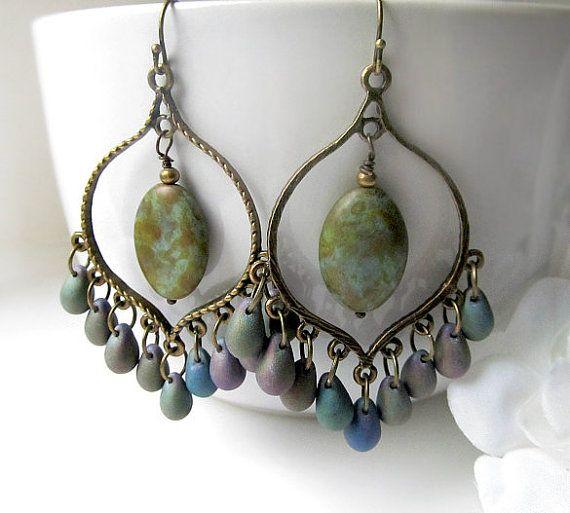 Bronze Iris Chandelier Earrings Green Purple by SoleilGypsy, $20.00