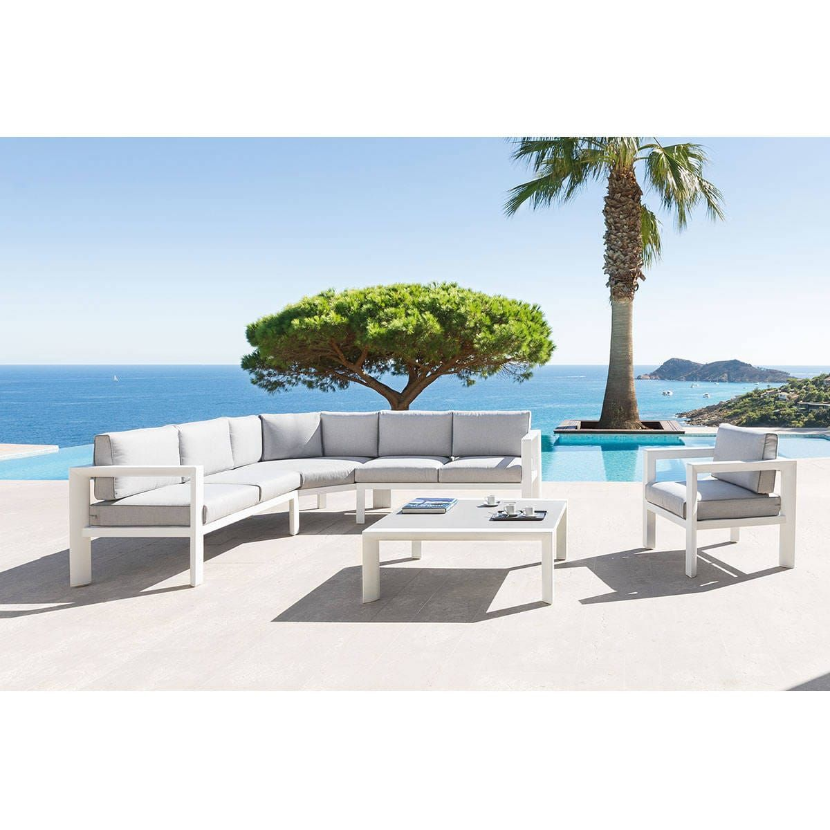 Salon d\'angle de jardin Titanium Perle & Blanc 6 places ...