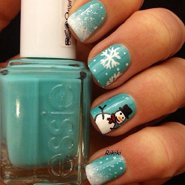 Mint Green Snowman Holiday Nails Cute Christmas Nails Christmas Nails