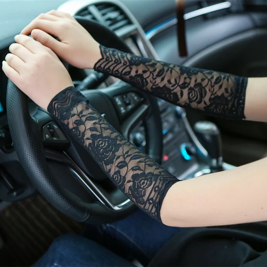 30cm Long Lace Gloves Women Summer UV Protection Lace Cuff