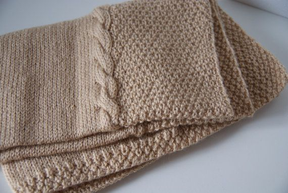 Hand Knit Baby Blanket Camel Brown Blanket Knit by BambinoStore