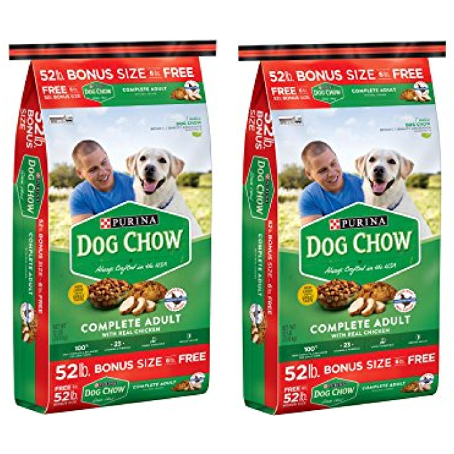 Purina Dog Chow Complete Adult Dry Dog Food 52 Lbs 2 Pack Made