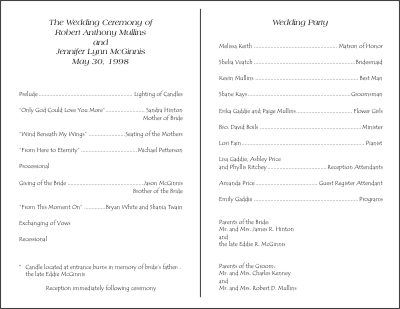 Sample Program Templates Wedding Program Templates Free