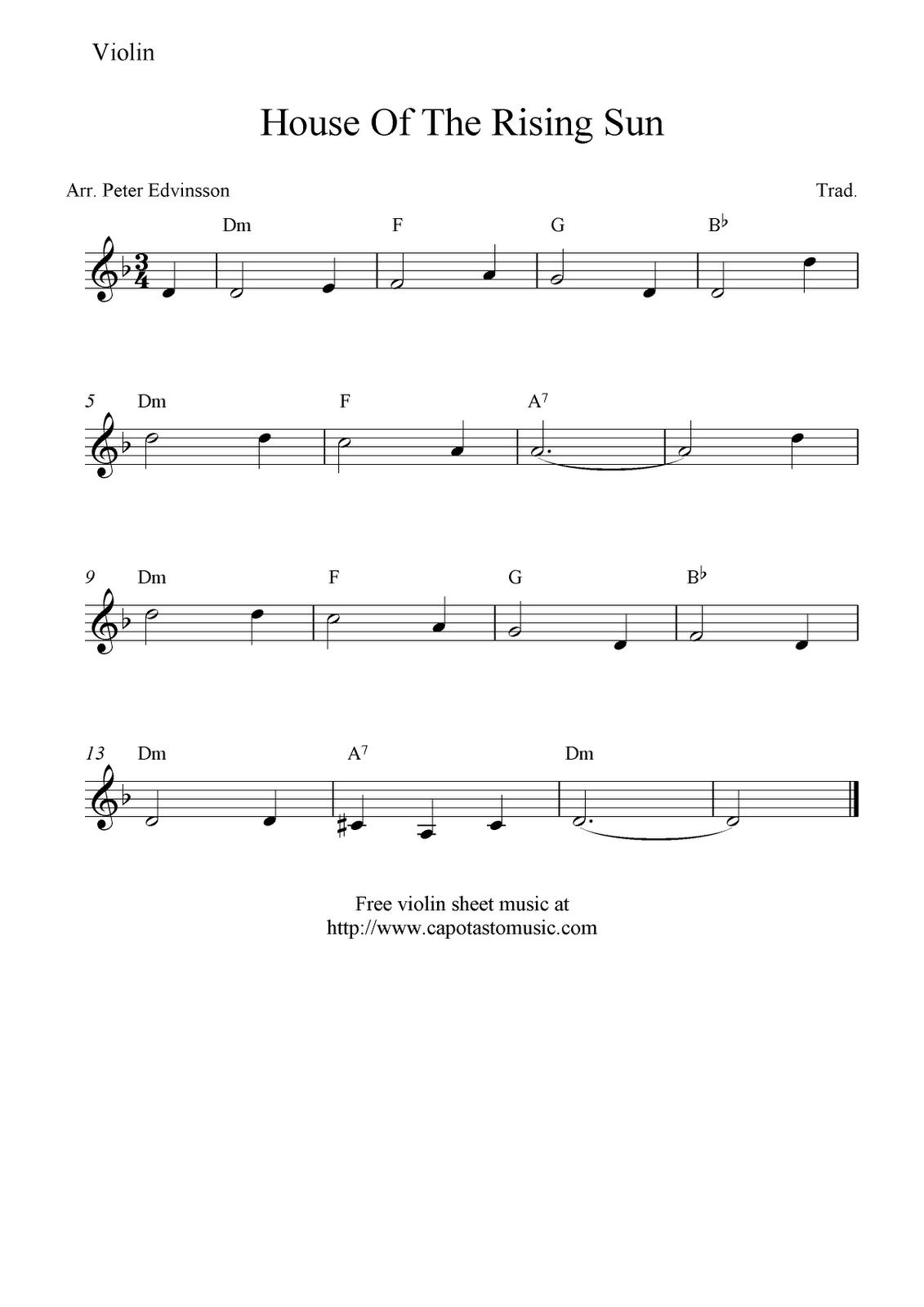 free violin sheet music | Free Sheet Music Scores: House Of The ...