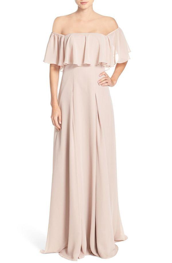 Trending off the shoulder bridesmaid dresses shoulder for Flowy wedding dresses with sleeves
