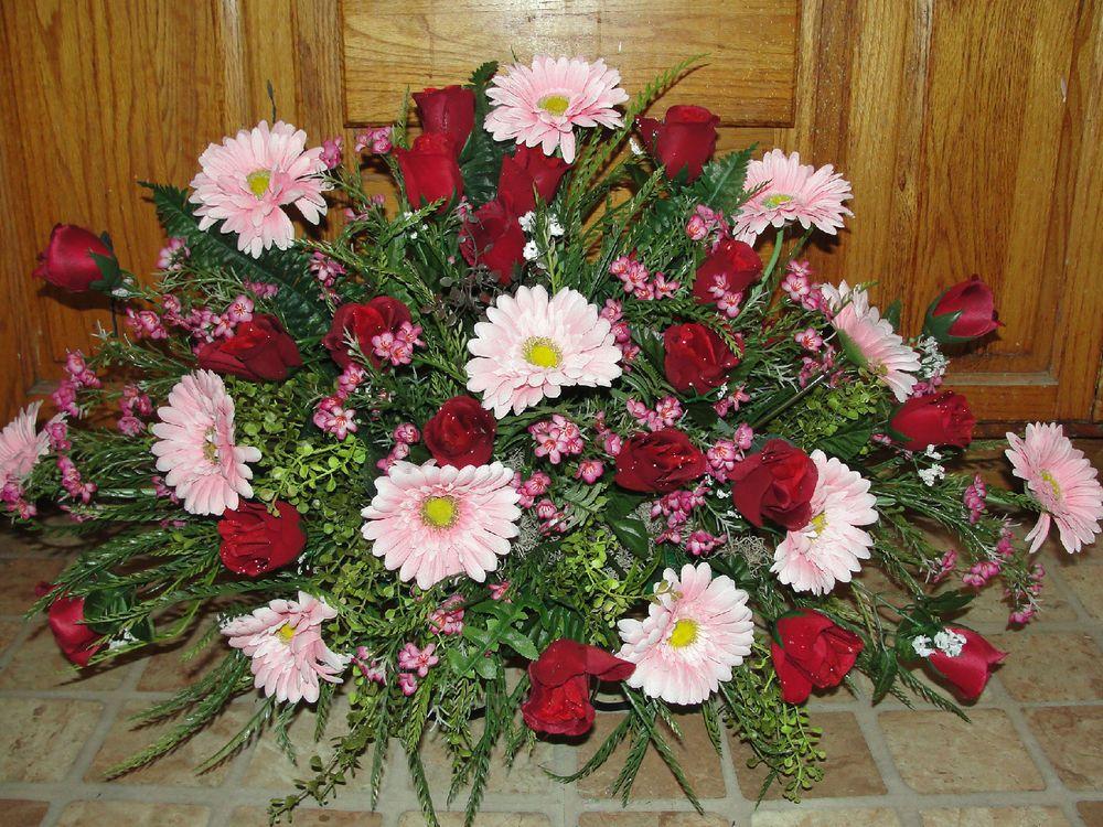 Sympathy headstone flower saddle mother grandma grave cemetery sympathy headstone silk flowers grave cemetery tombstone saddle burgundy roses mightylinksfo