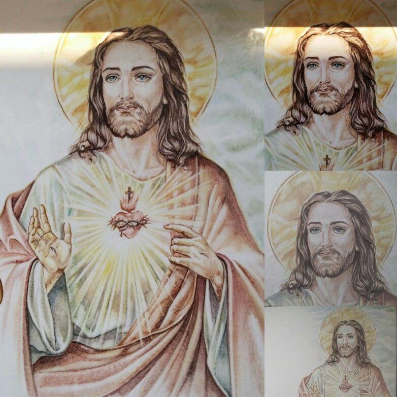 Sacro Cuore di Gesú Pietra lavica e ceramica Particolari prima e dopo della cottura By Rondinellart