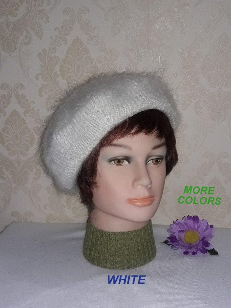 Mohair Cashmere Blend White Green Striped Hand Knit Beanie Hat Beret Cap