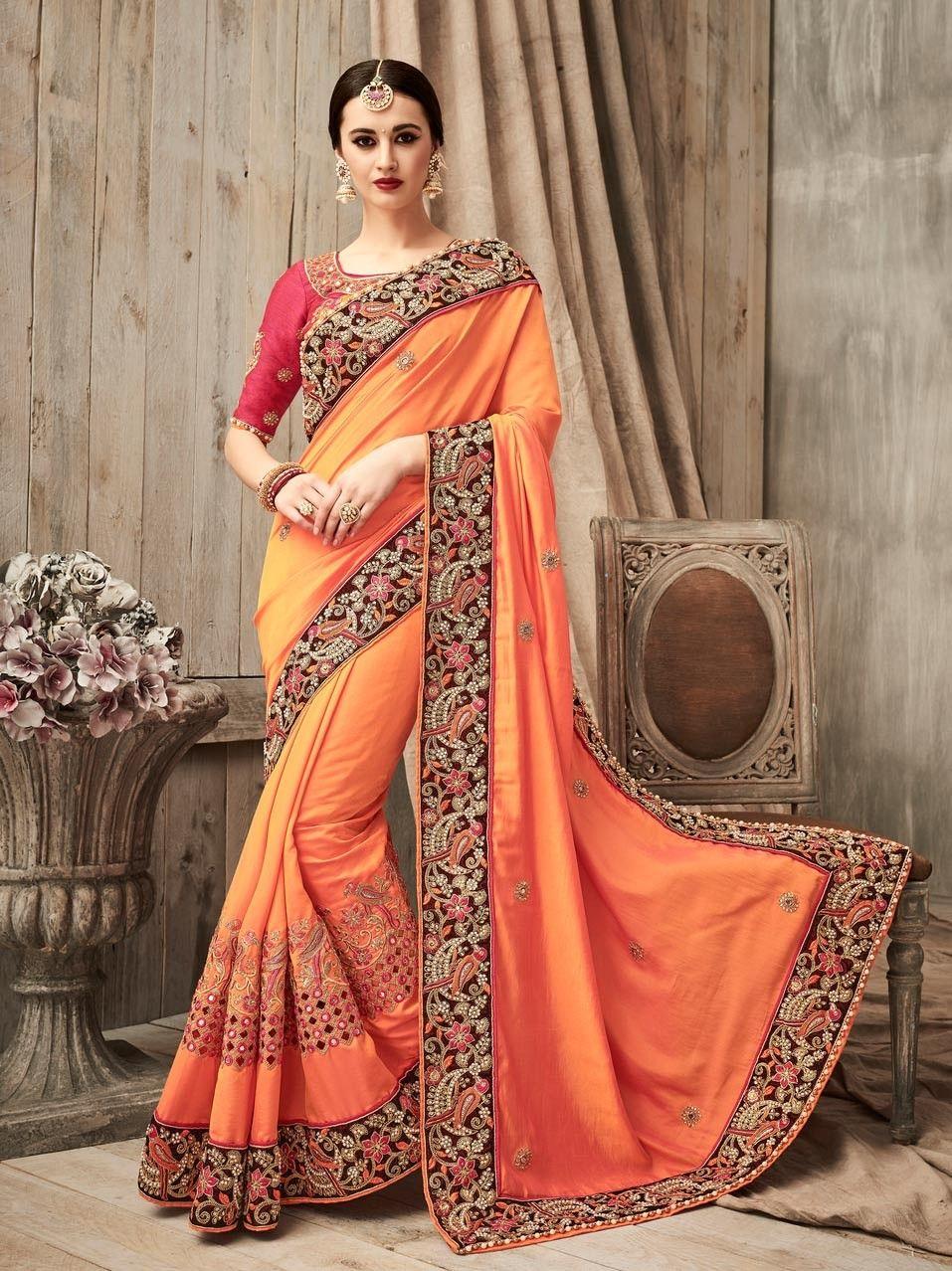 3ef87c6173604 Designer orange art silk Indian heavy lace border wedding wear sari with  mirror work