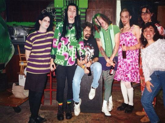 Sara Lee Lucas, Marilyn Manson, Glen Richards, Gidget Gein, Madonna Wayne Gacy/Pogo, Daisy Berkowitz, unknown girl.  Glen Richards was a South Florida Raidio host and the first person to play MM song 'My Monkey' on the radio, He introduced the band to their first manager John Tovar