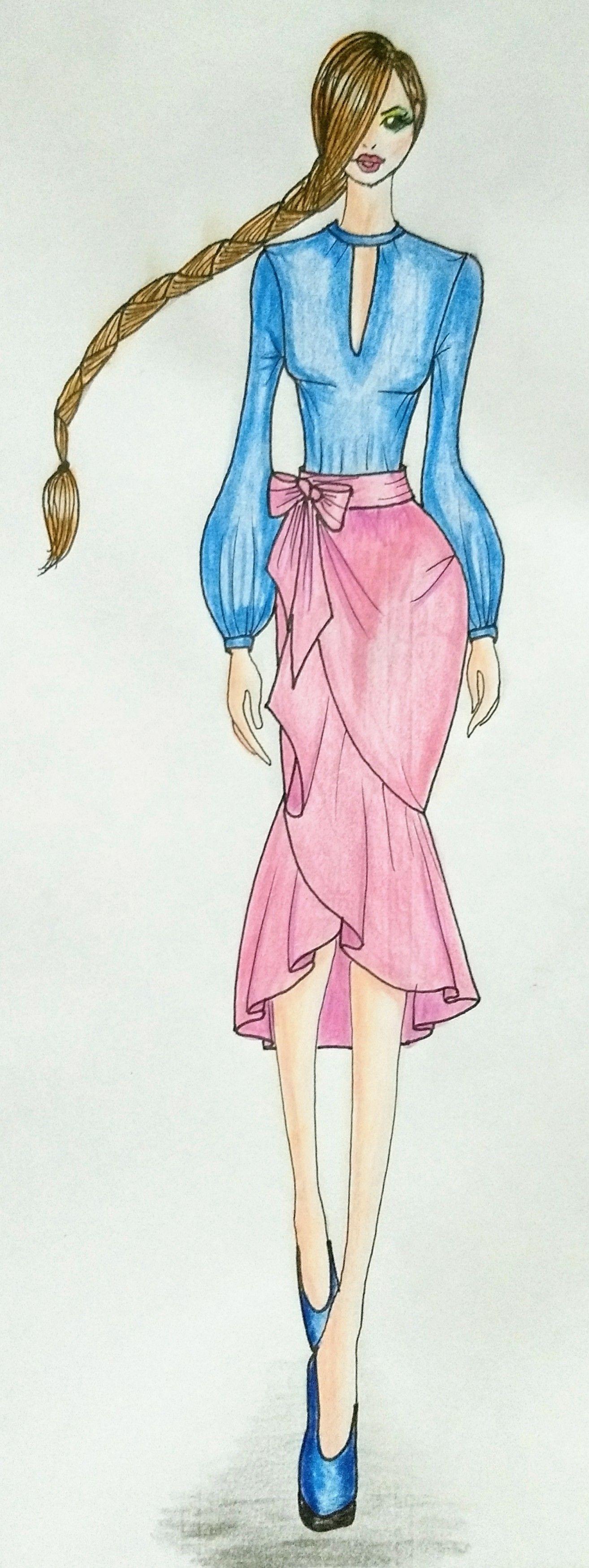 Figurín femenino, blusa manga larga bombacha y falda envolvente tipo ...