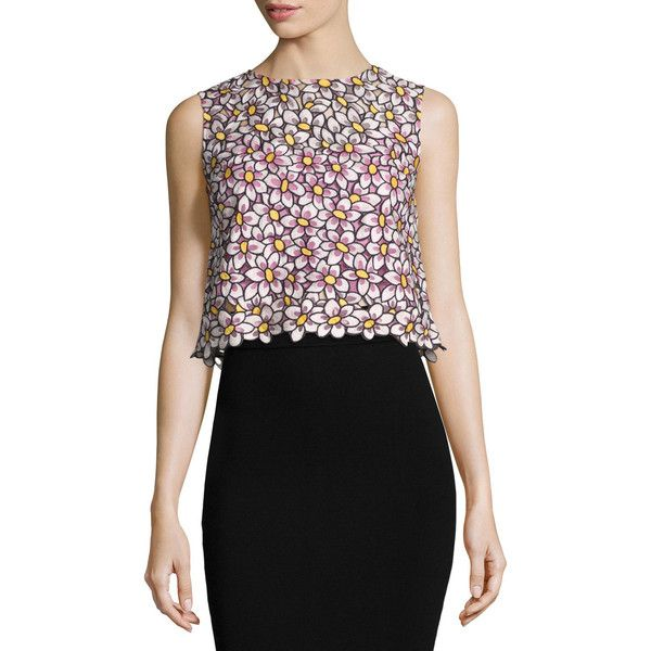 RED Valentino Embroidered Floral-Print Crop Top ($480) ❤ liked on Polyvore featuring tops, peonia, floral sleeveless top, silk crop top, sleeveless crop top, sleeveless tops and floral print crop top