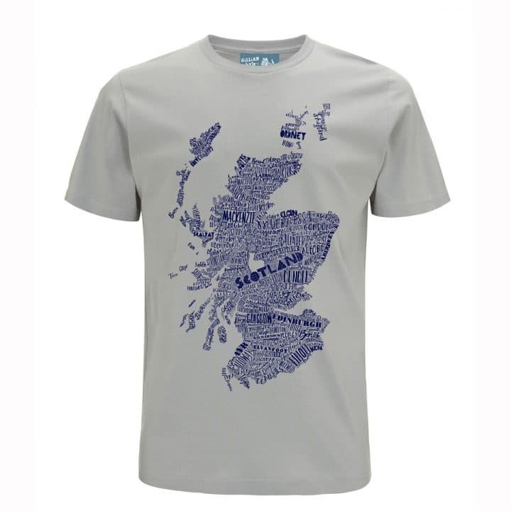 c62221ed1a0 A great Scottish man s or unisex t-shirt featuring Gillian s large  hand-drawn map of Scotland. Best accessorised with a cracking kilt and a  big Scottish ...