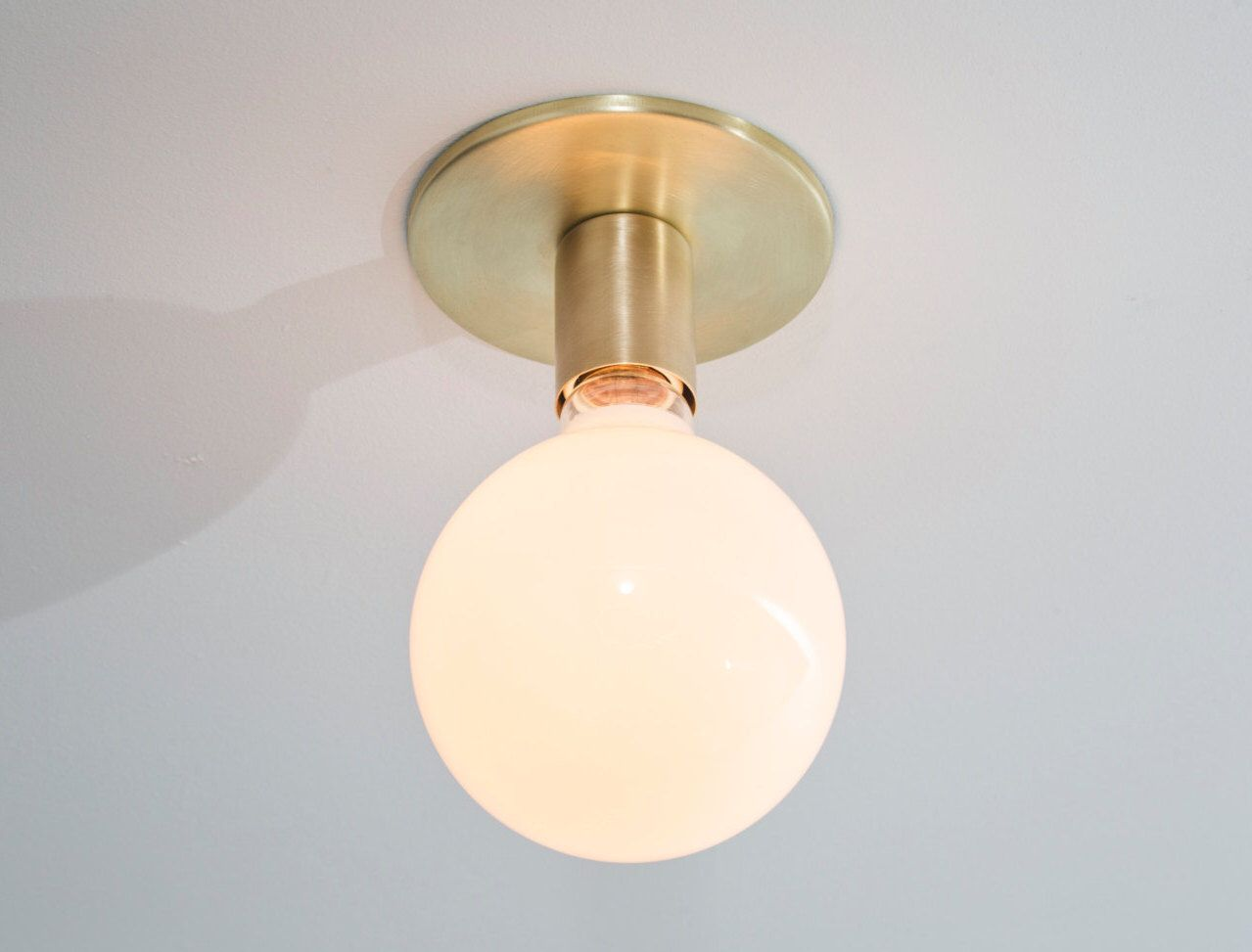 Brass Flush Mount Ceiling Light Or Wall Sconce Brass Lighting Minimalist Design Mid Century Modern Brass Ceiling Light Globe Ceiling Light Ceiling Lights