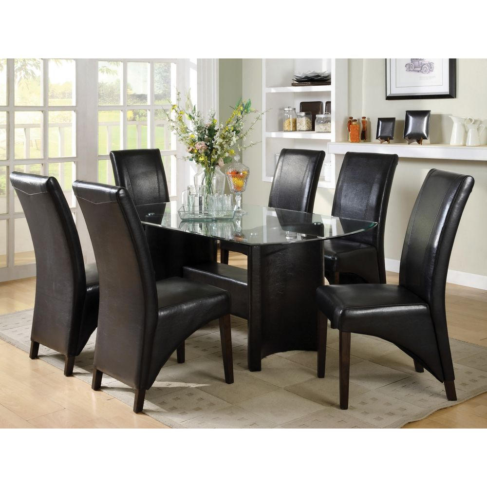 Dining Table Set Deals: Furniture Of America Francis Beveled Glass Top 7-piece