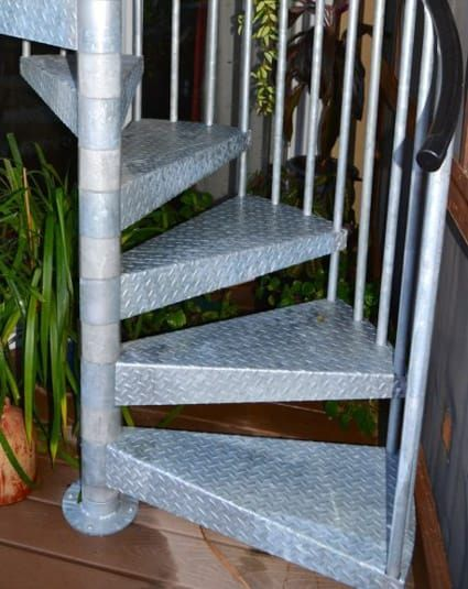 Best Deck To Patio Galvanized Spiral Stair Staircase Design 400 x 300