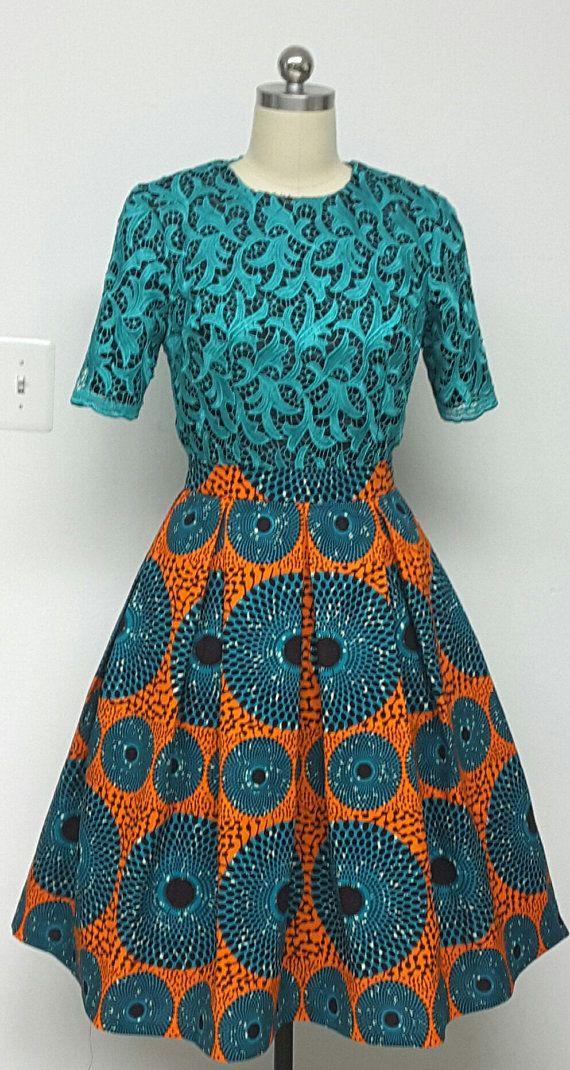African Print Box Pleated Skirt Inside Pockets. by NanayahStudio ...