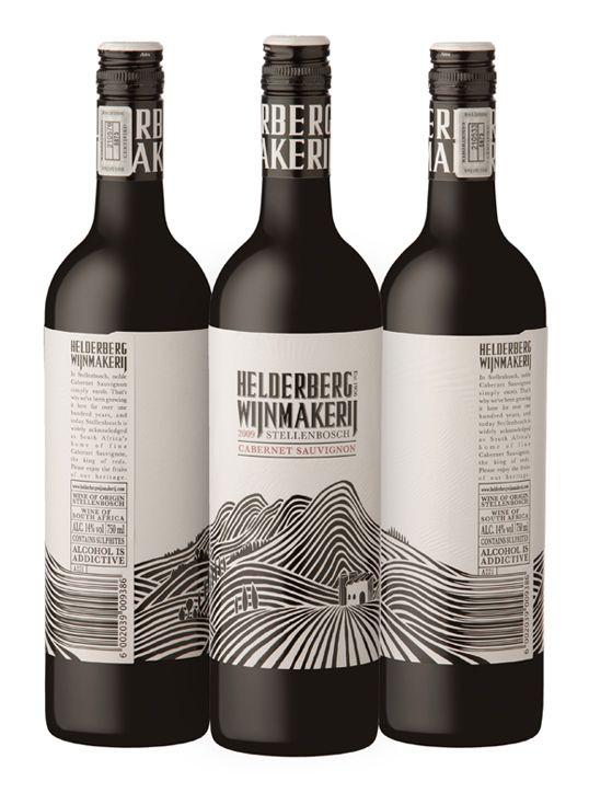 Helderberg Wijnmakerij A New Design We Did For A Winery In Stellenbosch The Black Is All High Build Wine Bottle Design Wine Packaging Design Wine Packaging