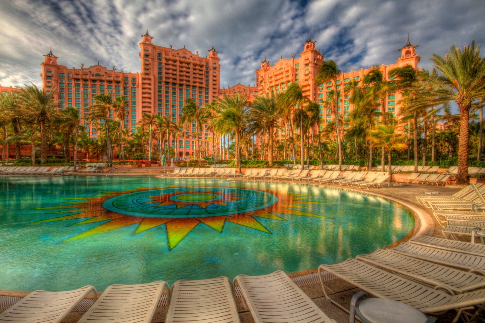 Items Similar To Travel Photography   Bahamas   Atlantis   Royal Towers    Palm Trees   Tropical Resort   Blue Sky   Morning   Exotic   HDR   Art  Print   On ...