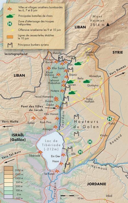 Carte Le Golan Dans La Guerre Des Six Jours Le Cartographe Net