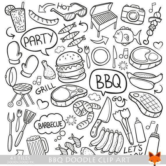 Bbq Barbecue Day Doodle Icons Clipart Scrapbook Set Hand Drawn Line