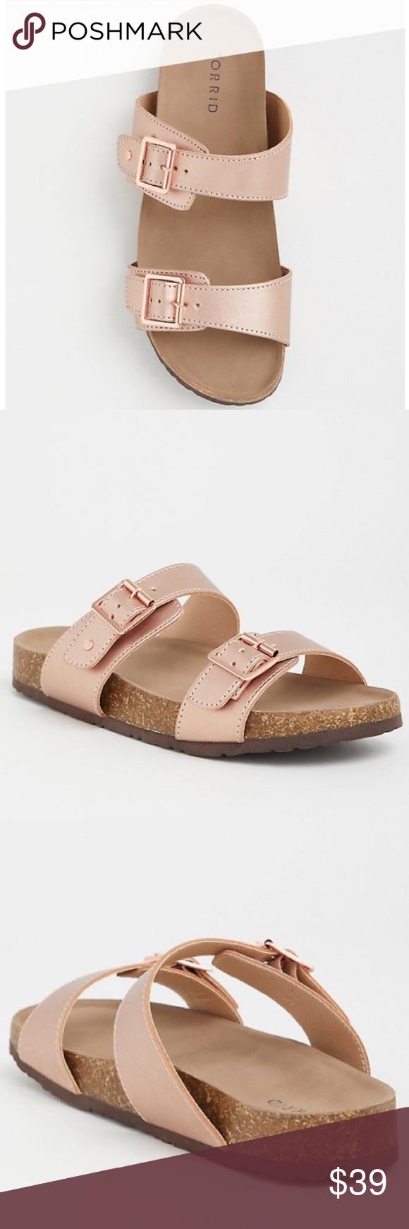 b9755cb2612a NWT Torrid boho rose gold slip on slide sandals 11 Brand new with tags