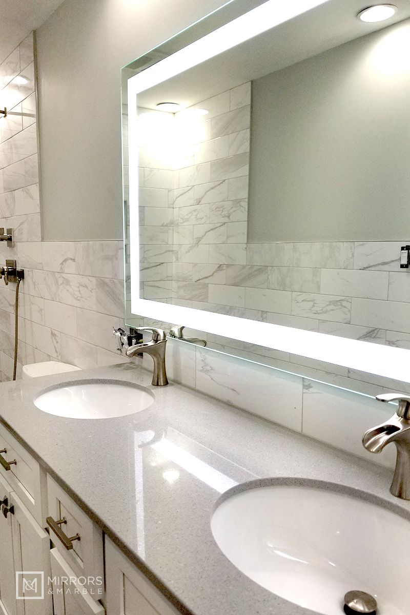 """Front-Lighted LED Bathroom Vanity Mirror: 60"""" Wide x 36 ..."""