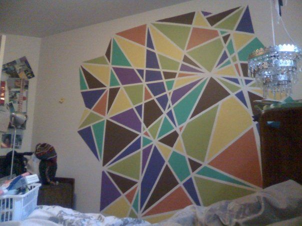 Painted This On My Bedroom Wall Masking Tape To Separate Each Section Wall Paint Designs Wall Painting Home Decor Decals